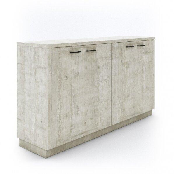 ארון למשרד 4 דלתות פתיחה בגוון אפור לבן
