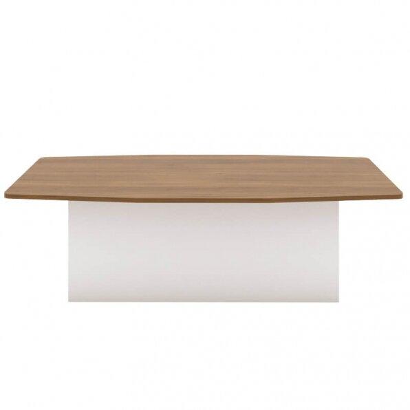 שולחן ישיבות עם פלטה חומה רגל במה לבנה
