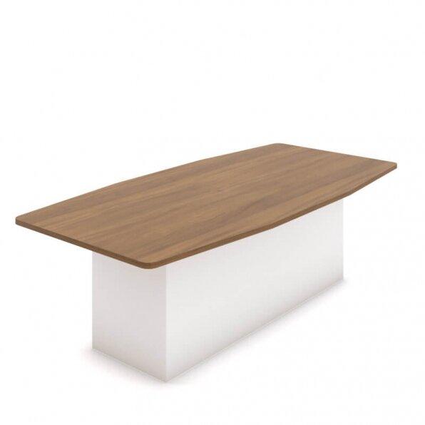 שולחן לחדר ישיבות עם רגל במה לבנה