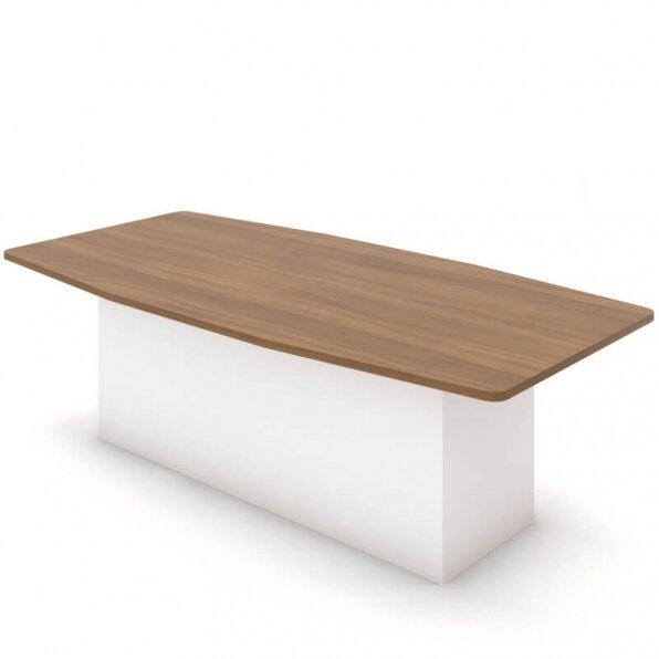 שולחן לישיבות עם רגל במה לבנה